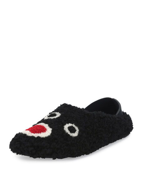Fendi Faces Fashion Show Shearling Slide, Black