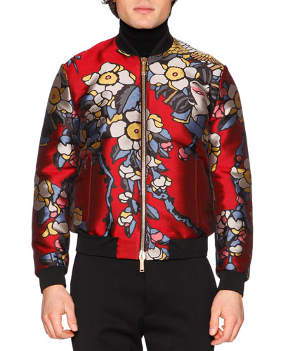 Cherry Blossom Print Bomber Jacket, Bordeaux