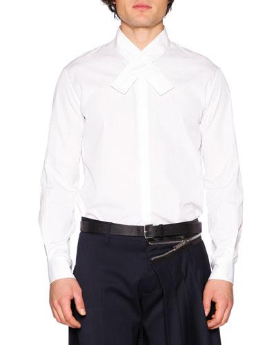 Crossover-Collar Dress Shirt, White