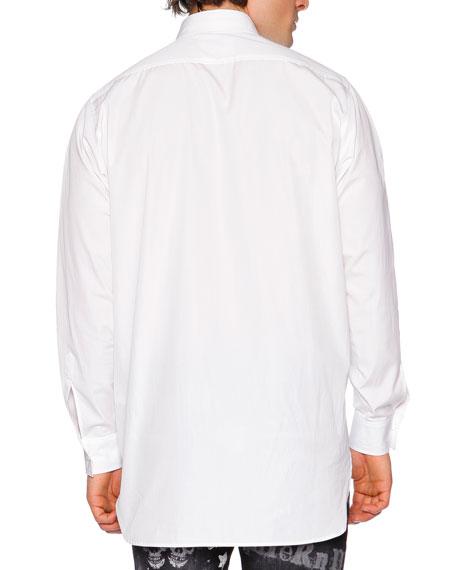 Oversized-Pocket Long-Sleeve Shirt, White