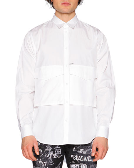 Dsquared2 Oversized-Pocket Long-Sleeve Shirt, White