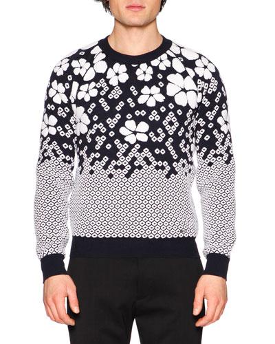 Cherry Blossom Crewneck Sweater, Blue/White