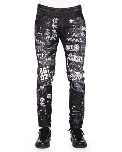 Graffiti-Print Skater Jeans, Black