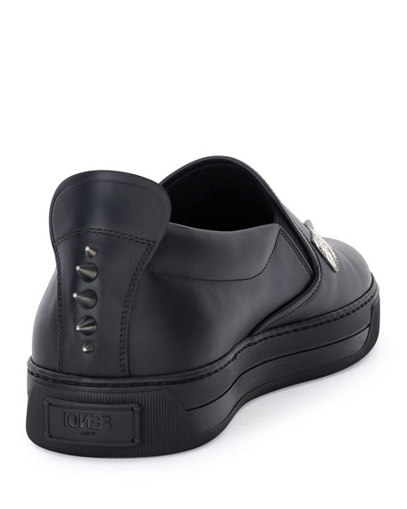 Men's Monster Eyes Leather Slip-On Sneakers, Black
