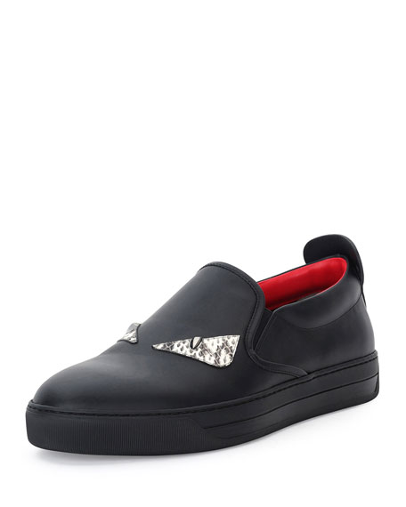 Fendi Monster Eyes Leather Slip-On Sneaker, Black