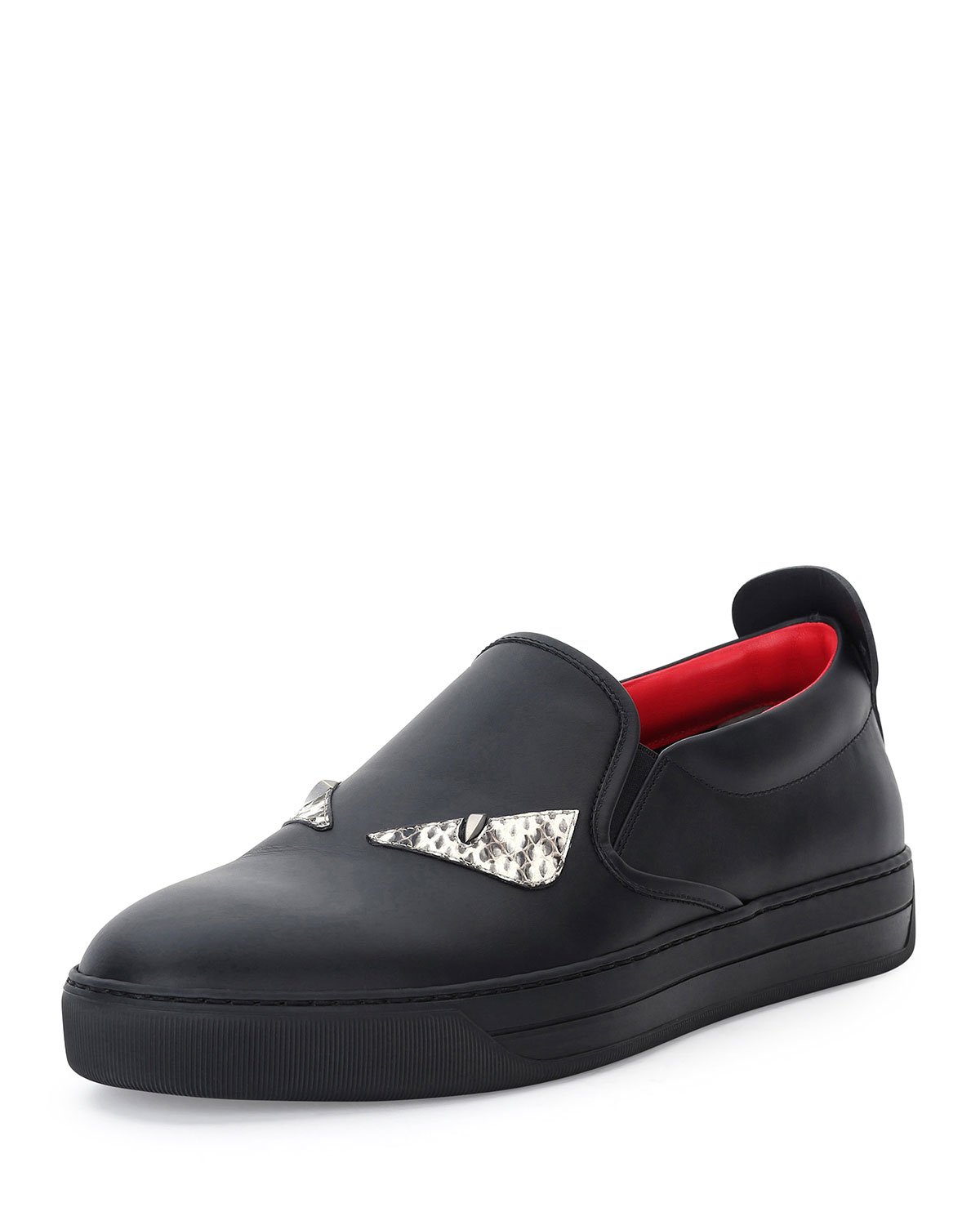 Fendi Men s Monster Eyes Leather Slip-On Sneakers 4ed592a4d