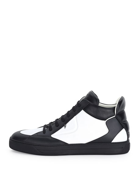 Monster Eye Leather High-Top Sneaker, White/Black