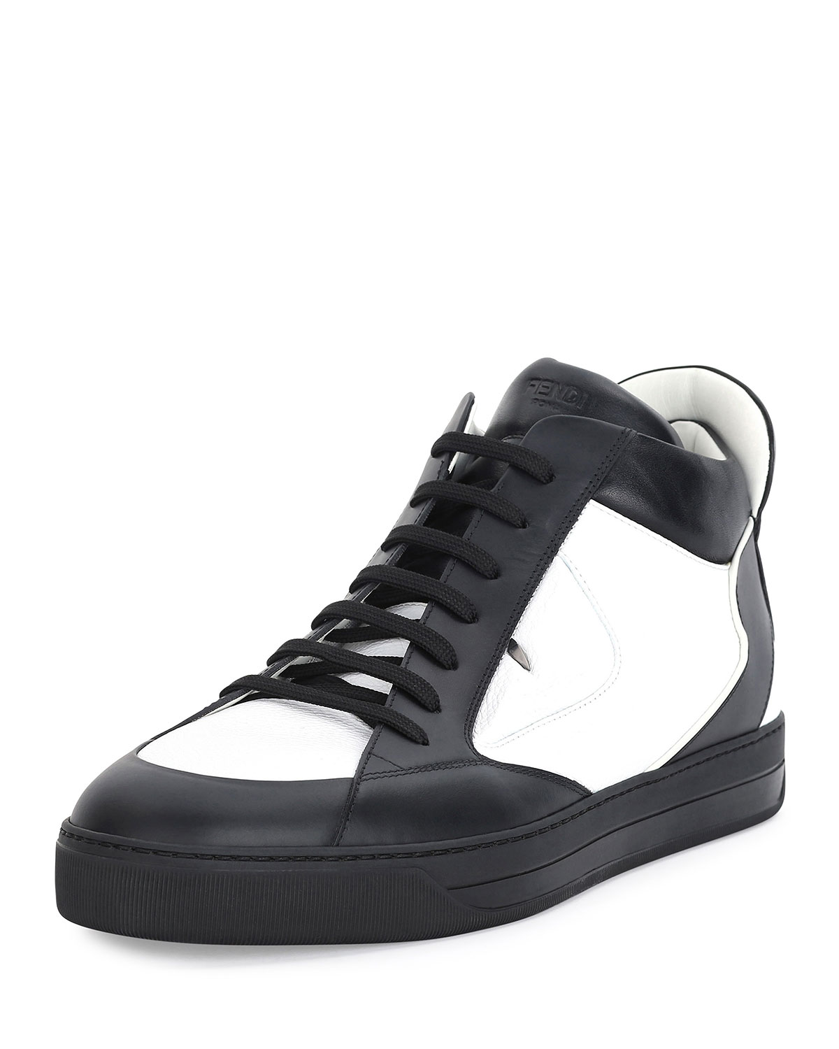 e6410beb97 Monster Eye Leather High-Top Sneaker, White/Black