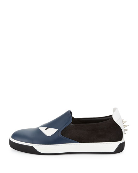 Monster Leather & Suede Slip-On Sneaker, Blue