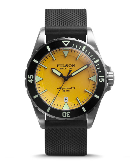 Filson 43mm Dutch Harbor Watch with Rubber Strap, Yellow/Black