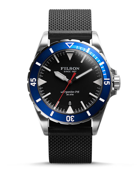 Filson 43mm Dutch Harbor Watch with Rubber Strap, Black