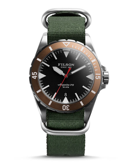Filson 43mm Dutch Harbor Watch with Nylon Strap,