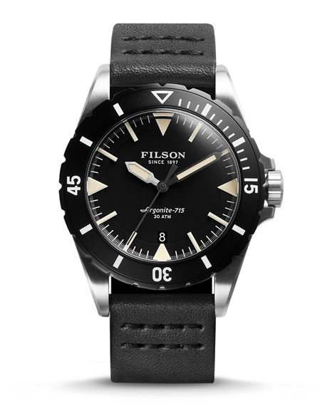 Filson 43mm Dutch Harbor Watch with Leather Strap,