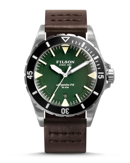 Filson 43mm Dutch Harbor Watch with Leather Strap, Green/Brown