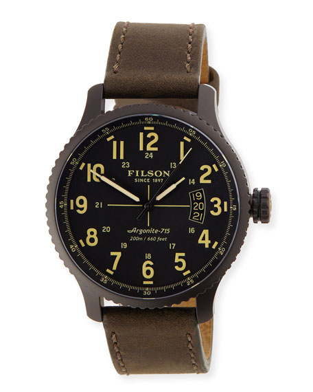 42mm Mackinaw Field Watch with Leather Strap, Black/Brown