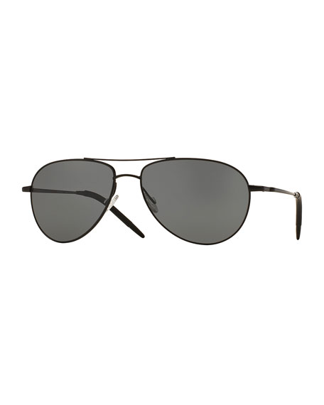 Oliver Peoples Benedict 59 Metal Aviator Polarized Sunglasses,