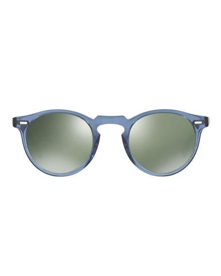 Gregory Peck Round Sunglasses, Blue
