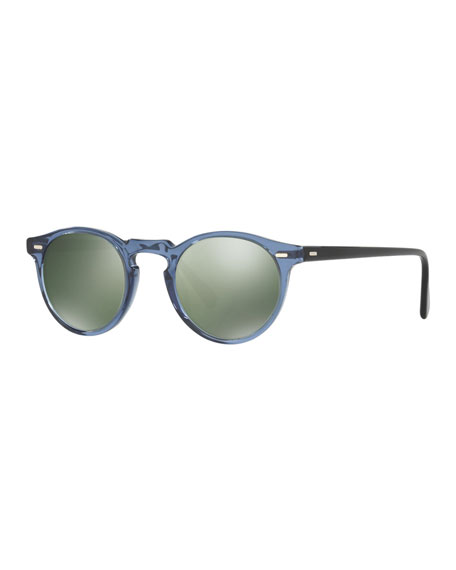 Oliver Peoples Gregory Peck Round Sunglasses, Blue