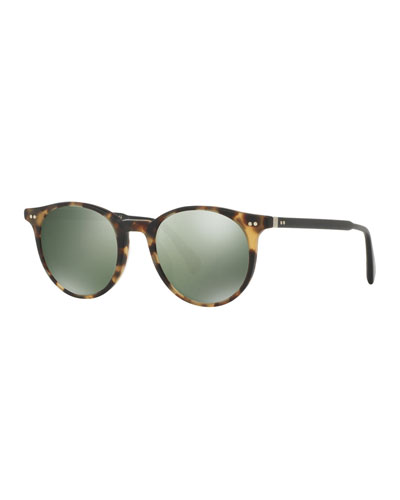 Delray Sun 48 Round Sunglasses, Light Brown