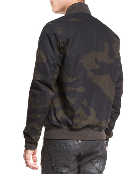 G-Star Batt Camo-Print Sports Bomber Jacket, Asfalt/Carbon Ao