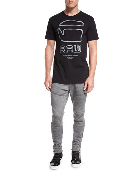 5620 3D Super-Slim Ankle-Zip Jeans, Aged Cobler