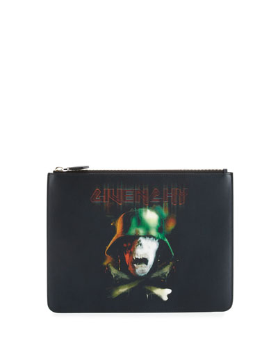Army Skull Large Leather Pouch