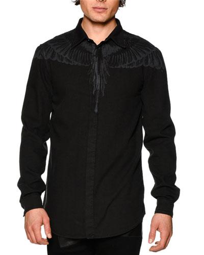 Tonal-Wings Long-Sleeve Sport Shirt, Black