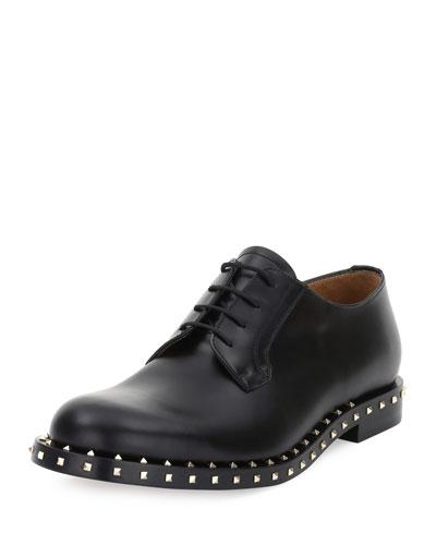Rockstud Studded Lace-Up Derby Shoe, Black