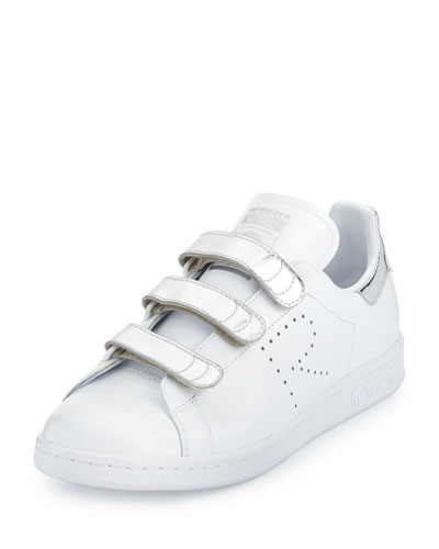 Stan Smith Metallic Triple-Strap Sneaker, White/Silver