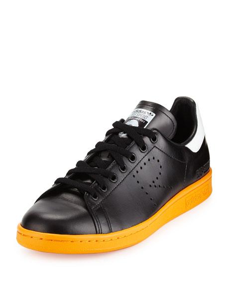 Stan Smith Leather Sneaker, Black/White/Orange