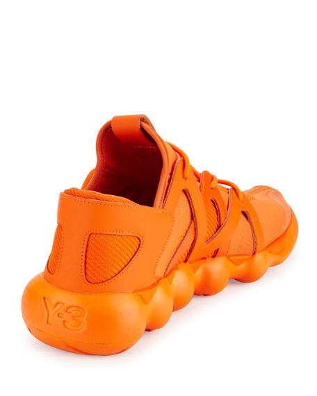 Kyujo Men's Leather Low-Top Sneaker, Orange
