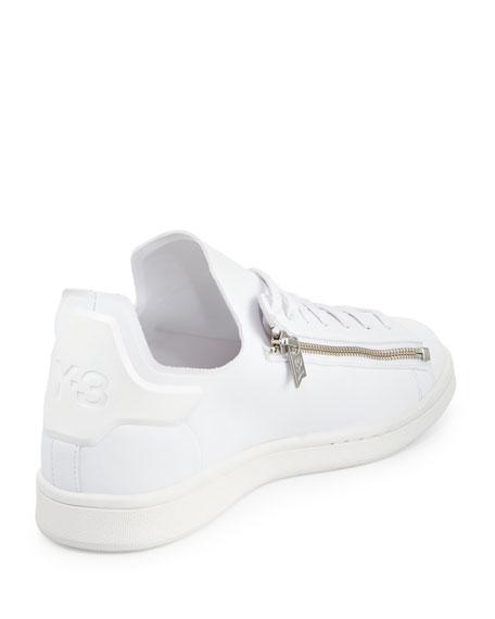 Stan Zip-Side Leather Sneaker, White