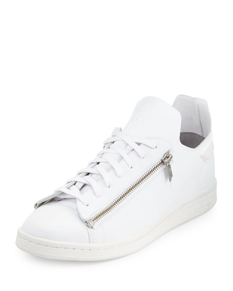 Stan Zip-Side Leather Sneaker, White