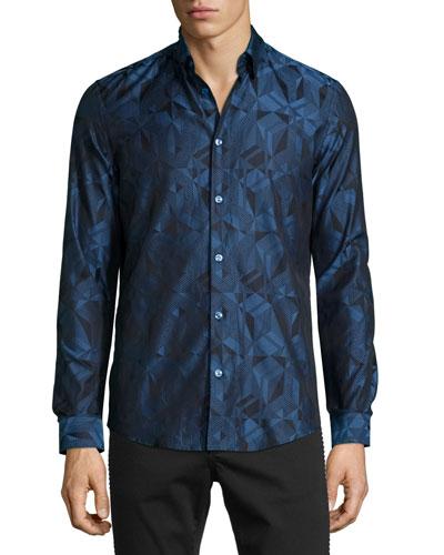 Grecca Geo-Print Woven Sport Shirt, Navy