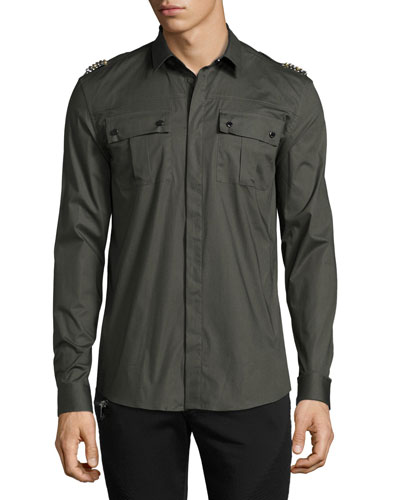 Embellished-Epaulet Military Shirt, Army Green