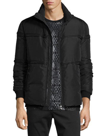 Versace Collection Rope-Trim Zip Puffer Jacket, Black