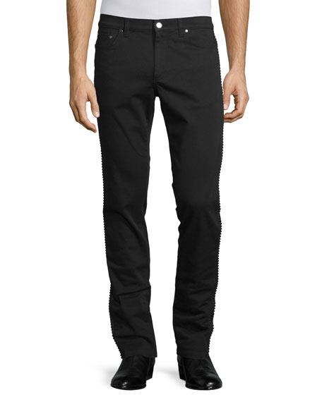 Versace Collection Rope-Trim Straight-Leg Denim Jeans, Black