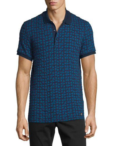 Textured Triangle-Stamped Short-Sleeve Polo Shirt, Purple