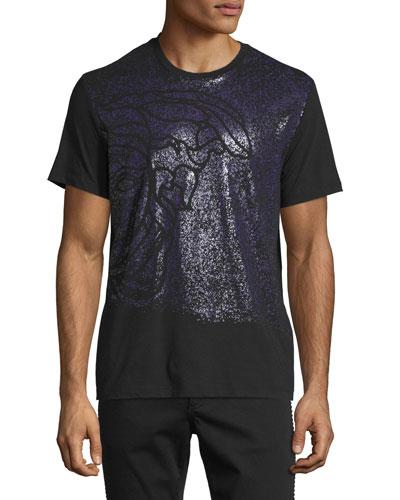 Medusa Print Short-Sleeve T-Shirt, Black/Violet