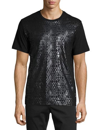 Shiny Tonal-Print Short-Sleeve Crewneck T-Shirt, Black