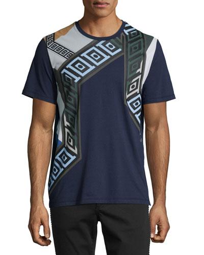 Grecca Multicolored-Print Short-Sleeve T-Shirt, Navy