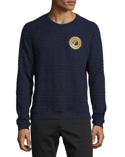 Medallion Triangle-Knit Sweatshirt, Navy