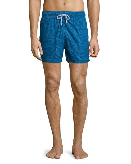 Retromarine Double Chicane-Print Retro Swim Trunks, Blue