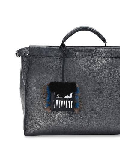 Monster Teeth Fur-Trim Luggage Tag w/Pouch, Black/Blue