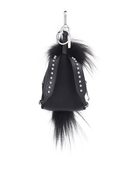 Karlito Fur-Trim Backpack Charm for Bag/Briefcase, Black