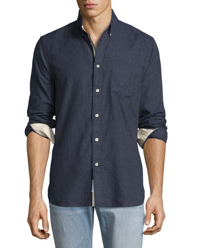 Standard Issue Brushed Cotton Sport Shirt, Navy