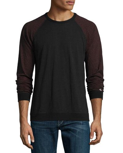 Standard Issue Colorblock Baseball T-Shirt, Black/Burgundy