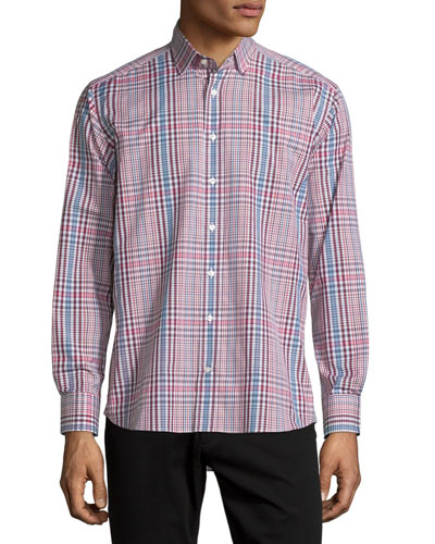 Plaid Long-Sleeve Sport Shirt, Burgundy/White/Blue