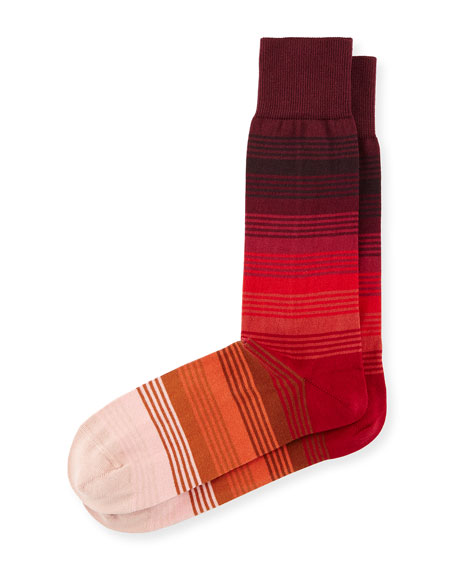 Gradient Multi-Striped Socks, Red