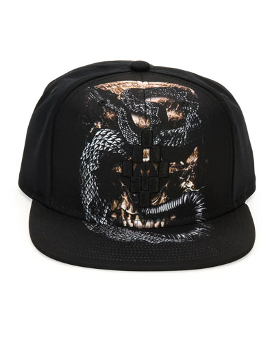 Bayo Printed Flat-Bill Cap, Black
